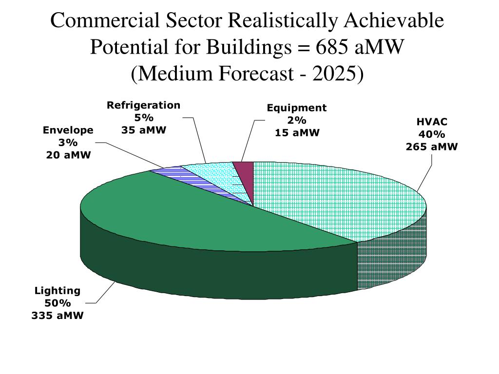 Commercial Sector Realistically Achievable Potential for Buildings = 685 aMW