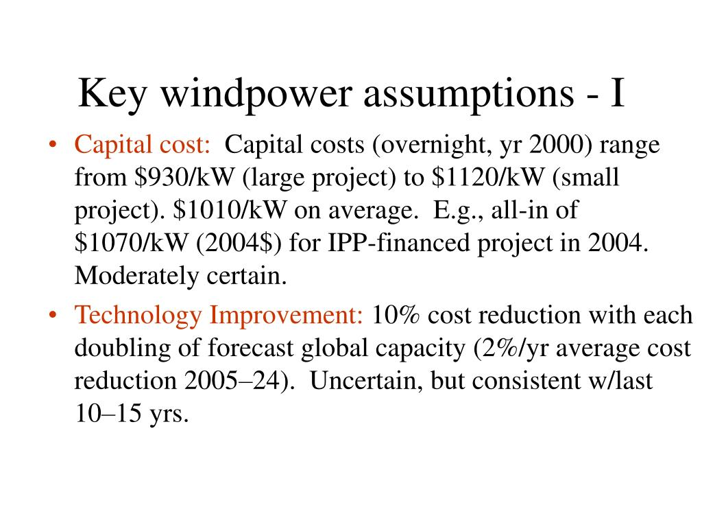 Key windpower assumptions - I