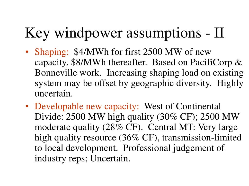 Key windpower assumptions - II