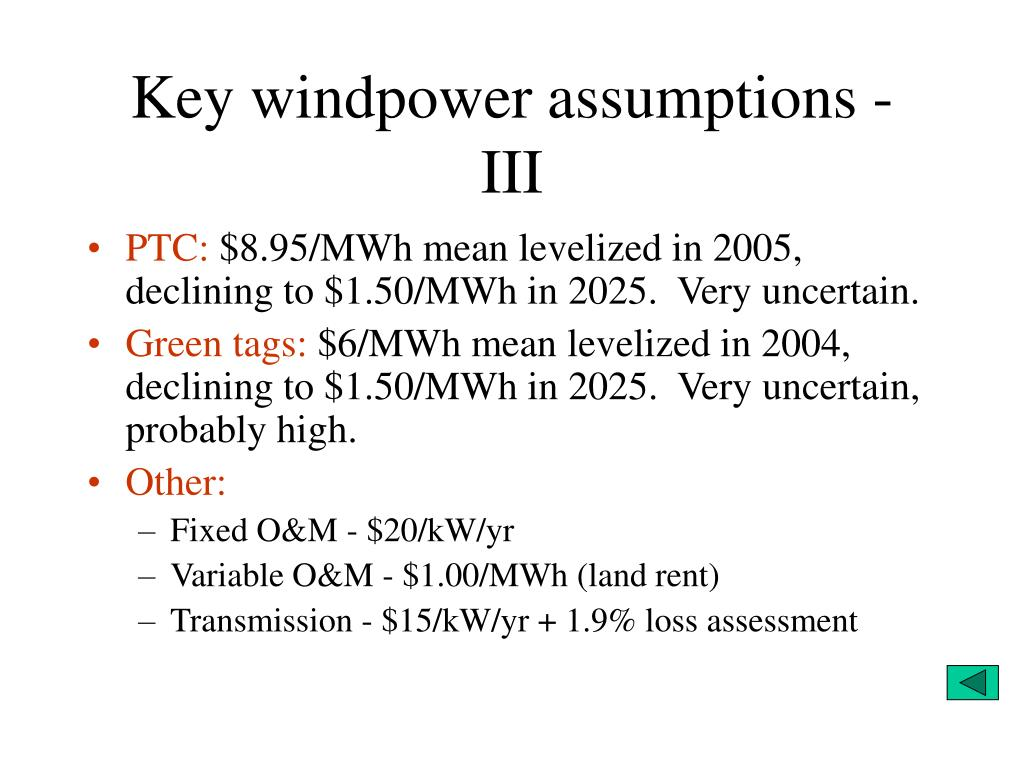 Key windpower assumptions -