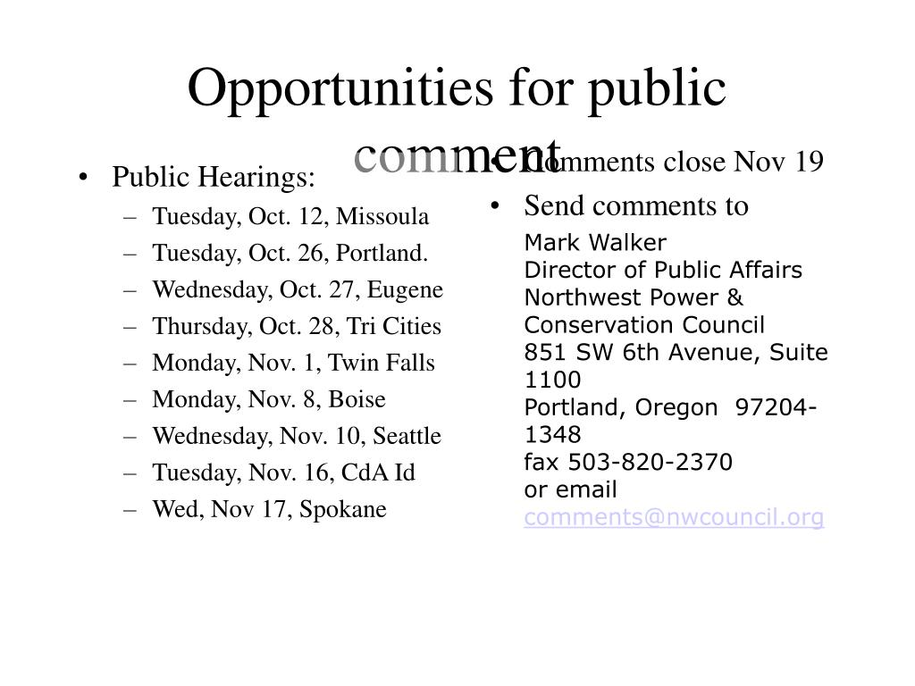 Public Hearings: