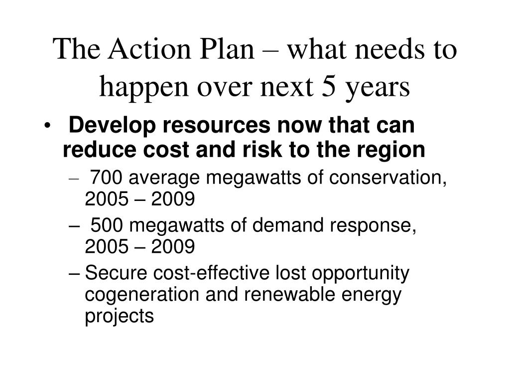 The Action Plan – what needs to happen over next 5 years