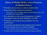 abuse of market rules versus exercise of market power37