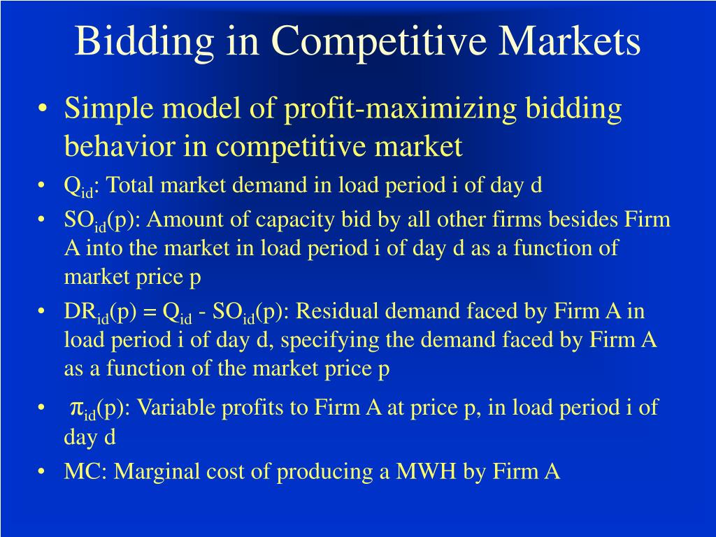 Bidding in Competitive Markets