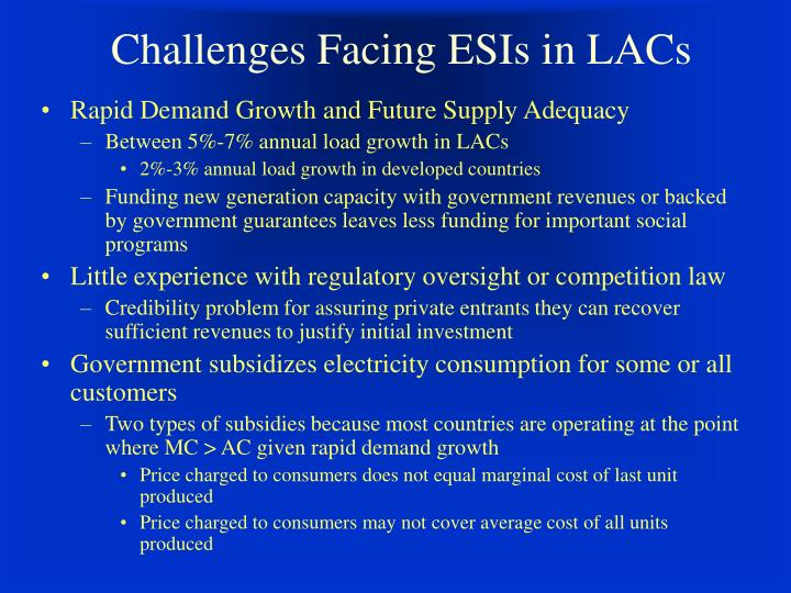 Challenges facing esis in lacs l.jpg