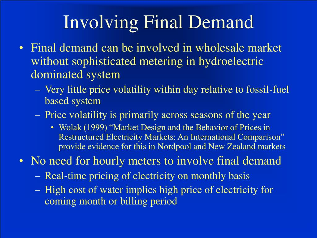Involving Final Demand
