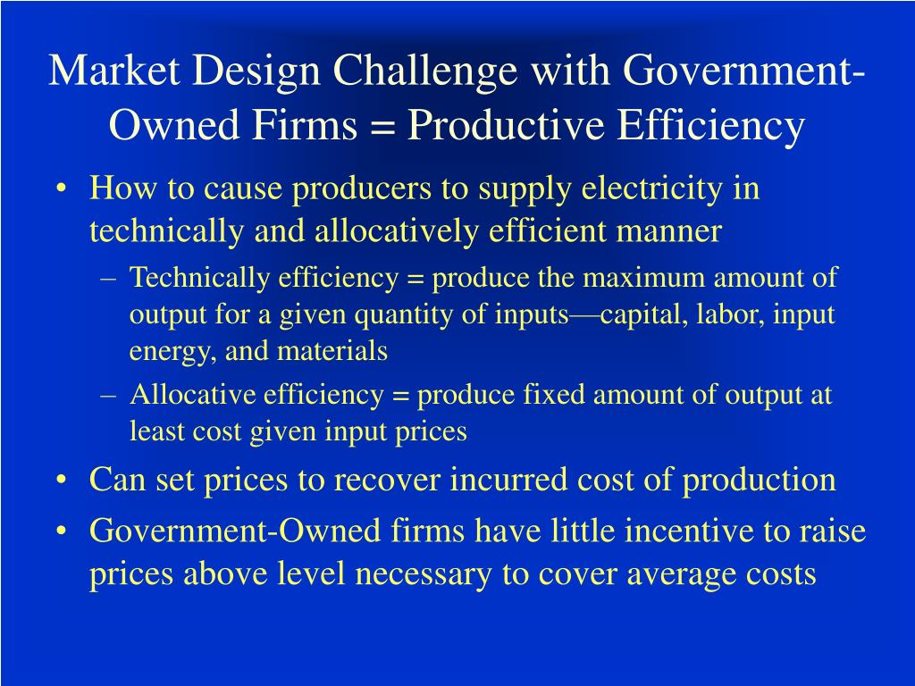 Market Design Challenge with Government-Owned Firms = Productive Efficiency