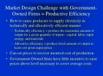 market design challenge with government owned firms productive efficiency