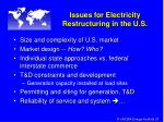 issues for electricity restructuring in the u s