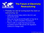 the future of electricity restructuring