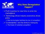 why does deregulation happen