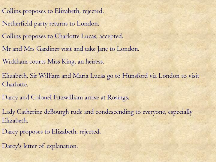 Collins proposes to Elizabeth, rejected.