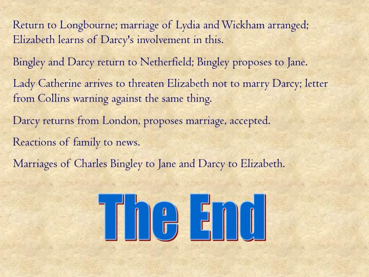 Return to Longbourne; marriage of Lydia and Wickham arranged; Elizabeth learns of Darcy's involvement in this.