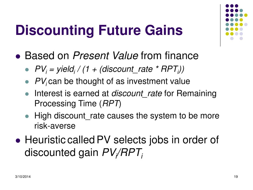 Discounting Future Gains