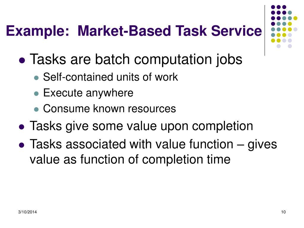 Example:  Market-Based Task Service