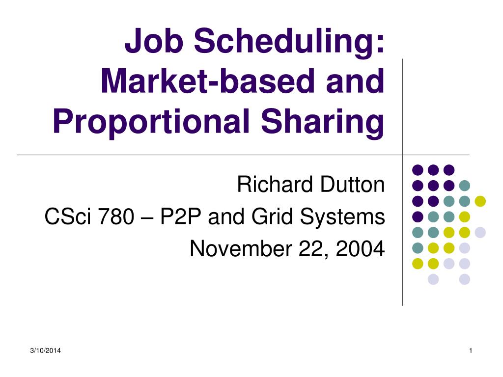 job scheduling market based and proportional sharing