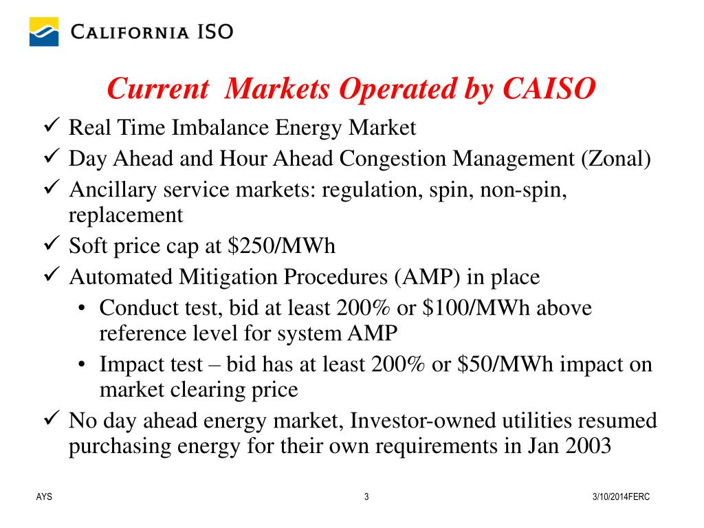 Current  Markets Operated by CAISO