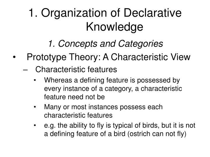 1. Organization of Declarative Knowledge
