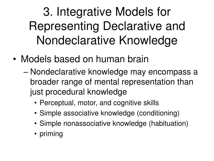 3. Integrative Models for Representing Declarative and Nondeclarative Knowledge
