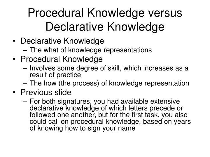 Procedural Knowledge versus Declarative Knowledge