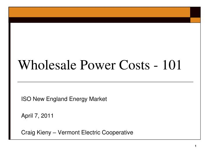 Wholesale power costs 101