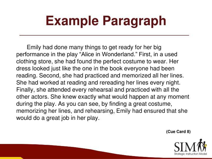 Paraphrasing a paragraph strategy