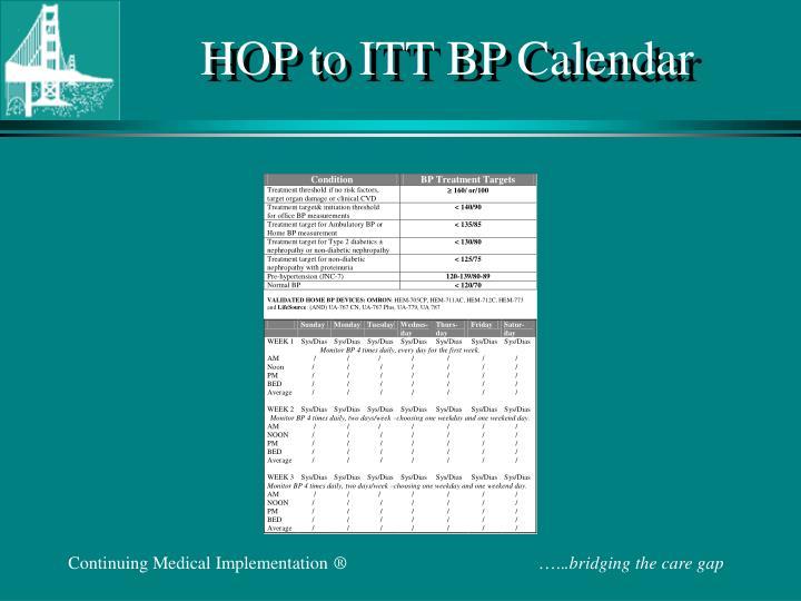 HOP to ITT BP Calendar