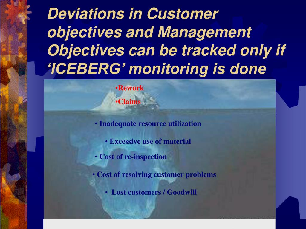 Deviations in Customer objectives and Management Objectives can be tracked only if 'ICEBERG' monitoring is done
