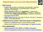 adjustments vis vis the benchmark