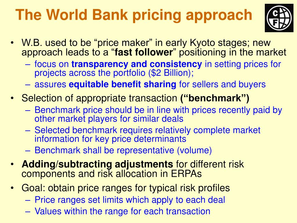 The World Bank pricing approach