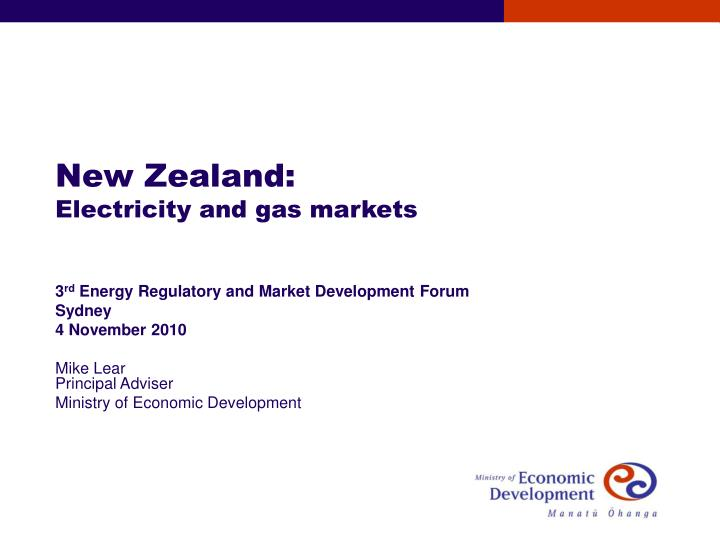 New zealand electricity and gas markets