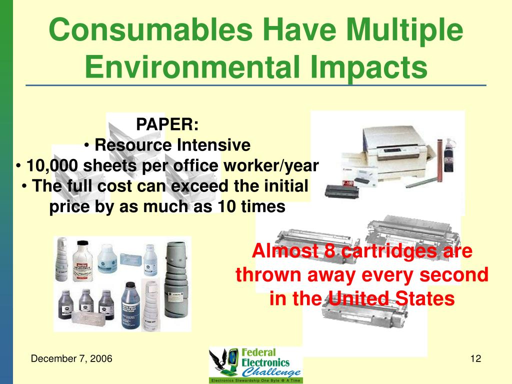 Consumables Have Multiple Environmental Impacts