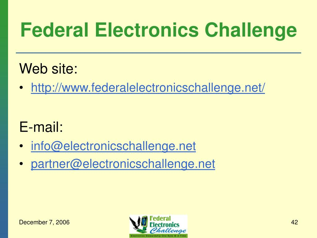 Federal Electronics Challenge