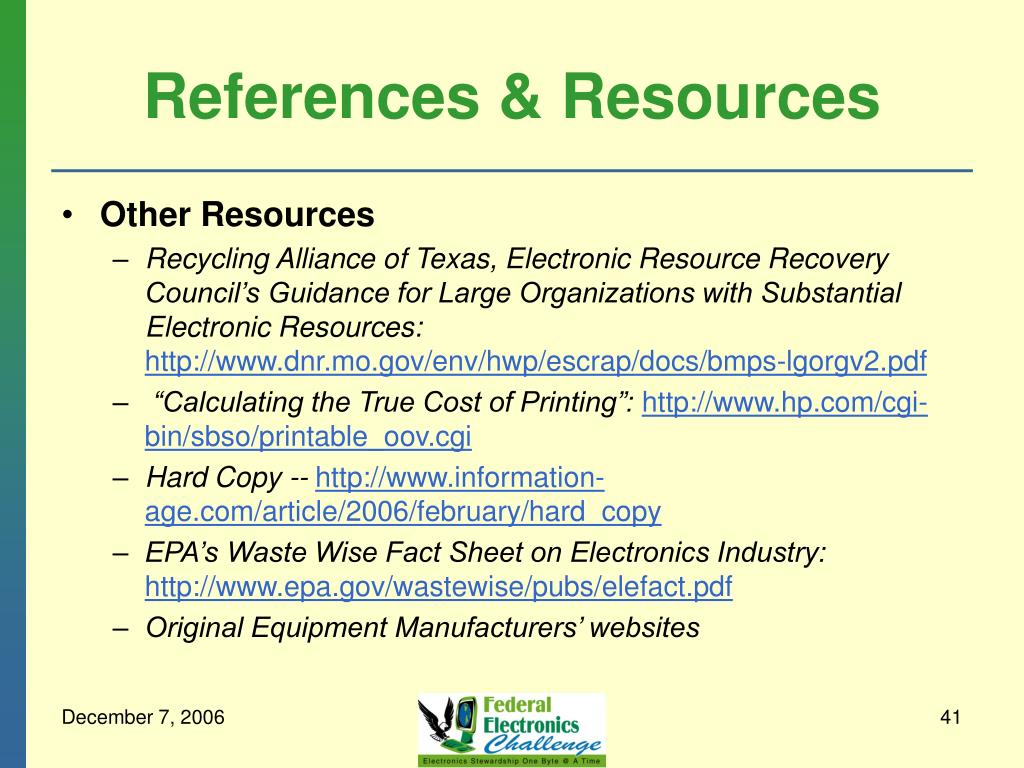 References & Resources
