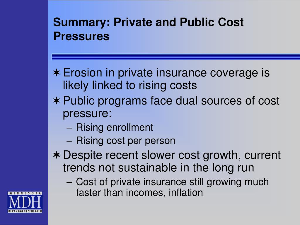 Summary: Private and Public Cost Pressures