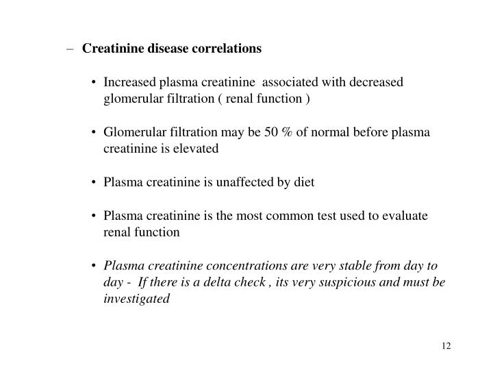 Creatinine disease correlations