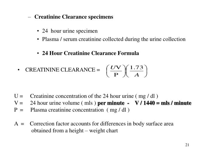 Creatinine Clearance specimens