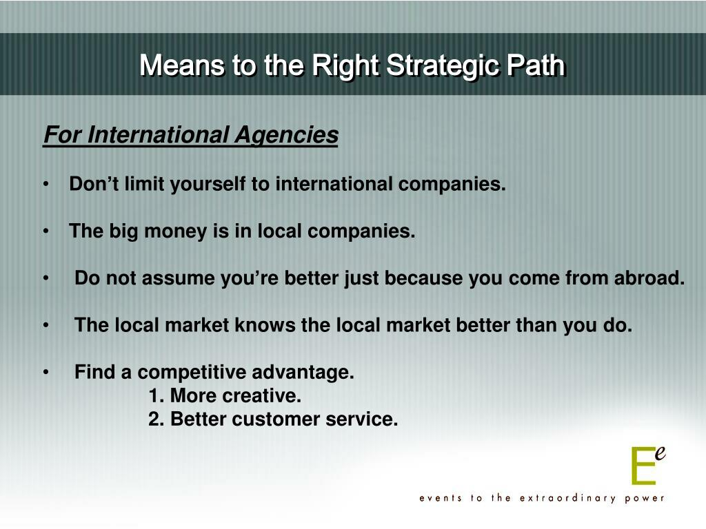 Means to the Right Strategic Path