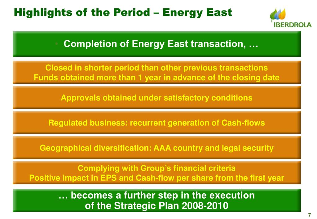 Highlights of the Period – Energy East