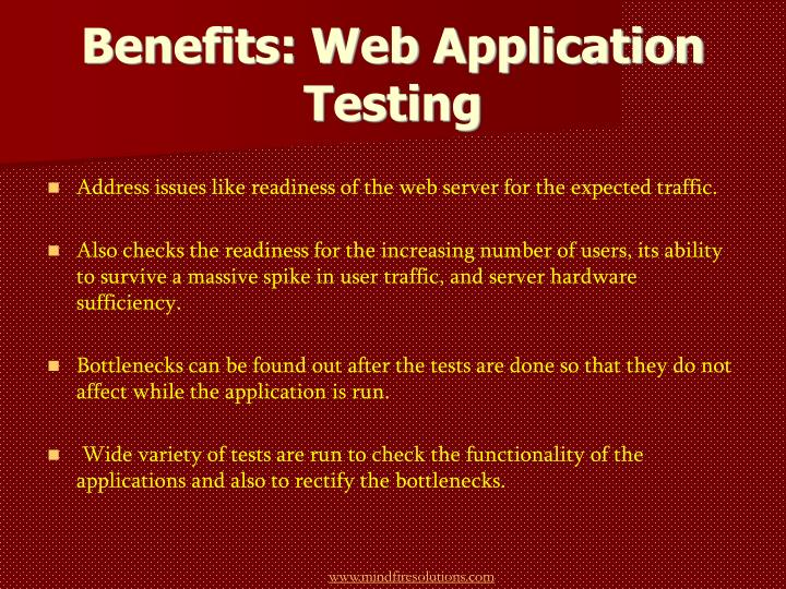 Benefits web application testing