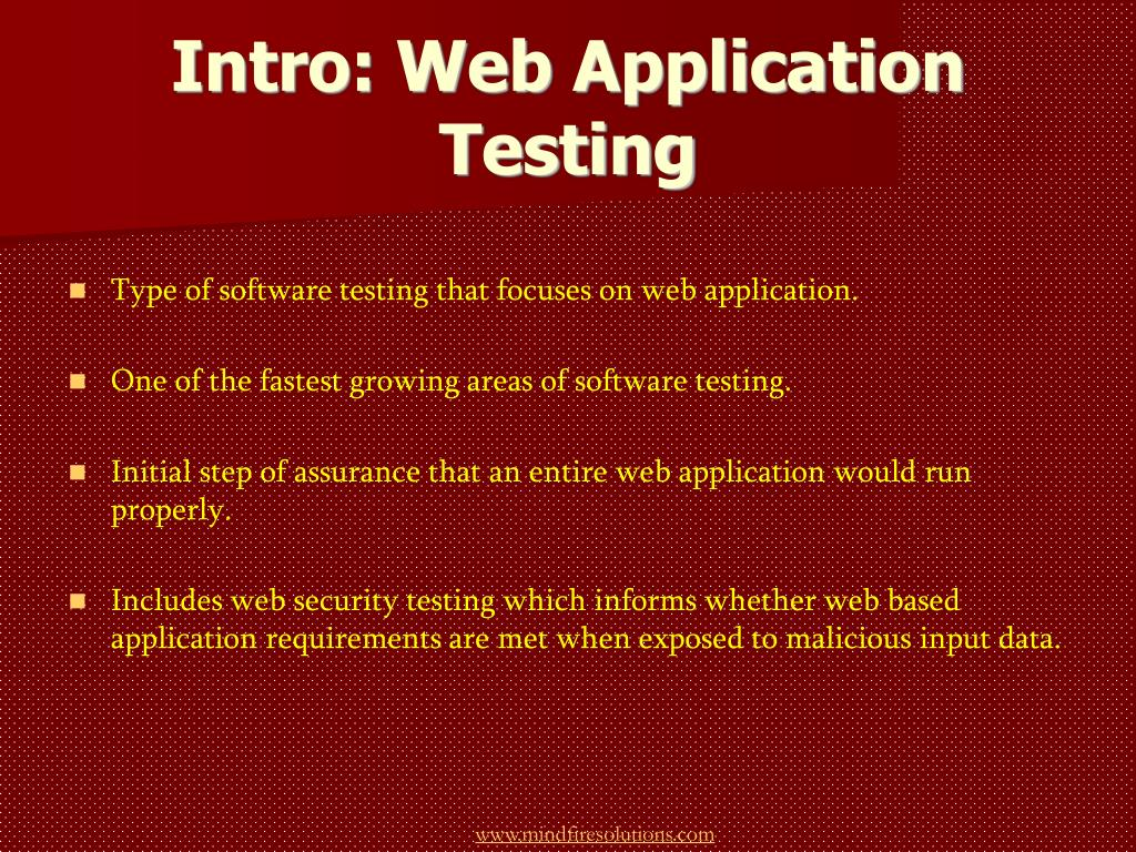 Intro: Web Application Testing