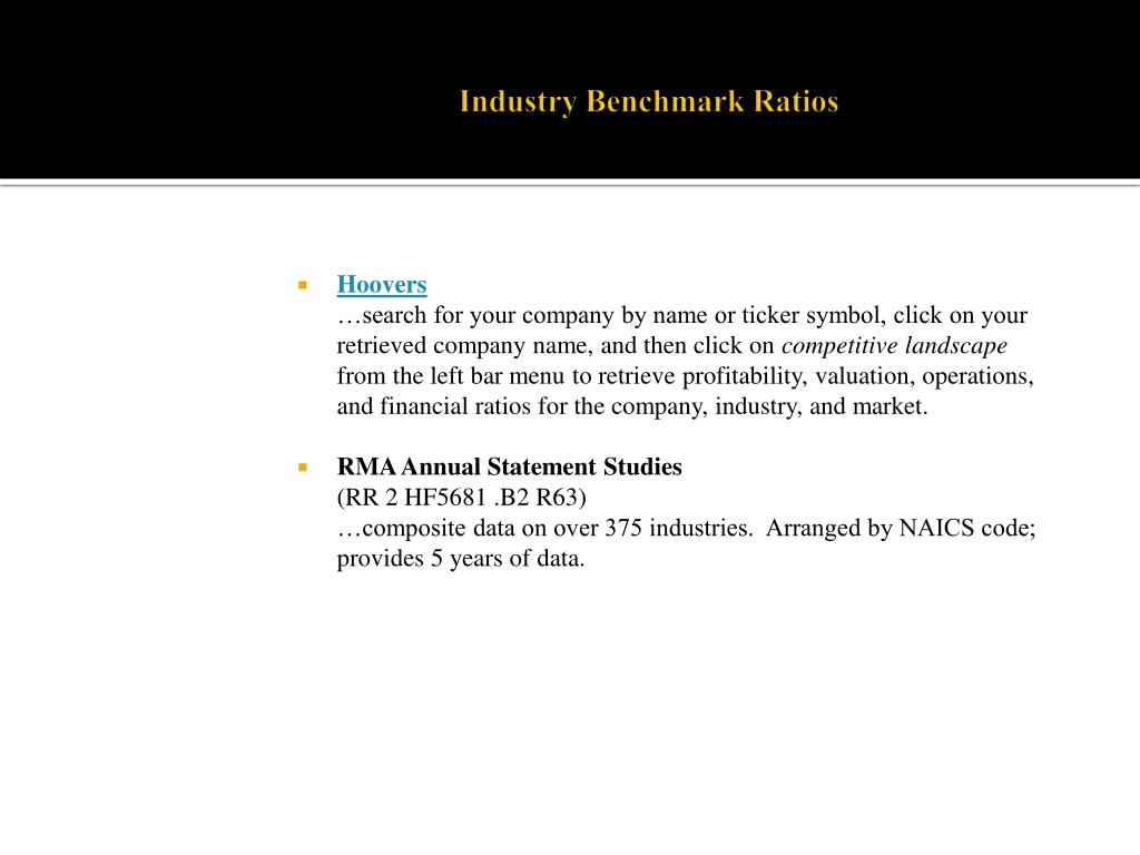 Industry Benchmark Ratios