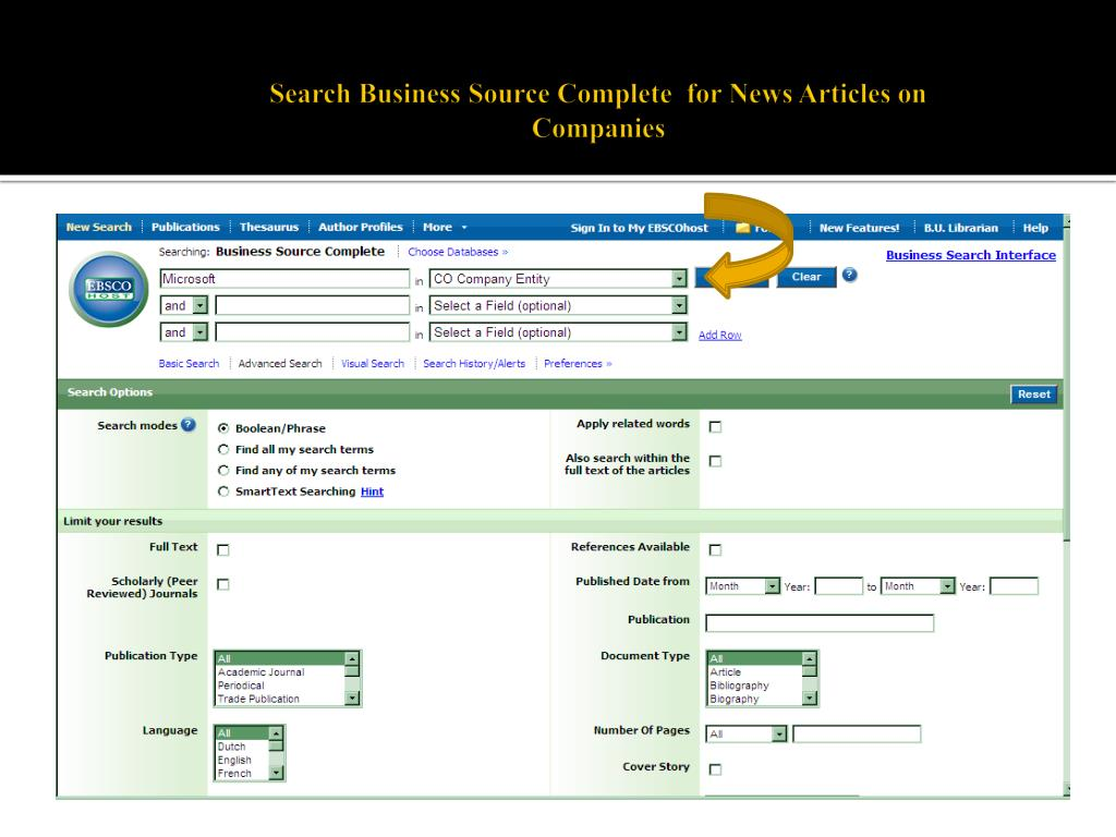 Search Business Source Complete  for News Articles on Companies