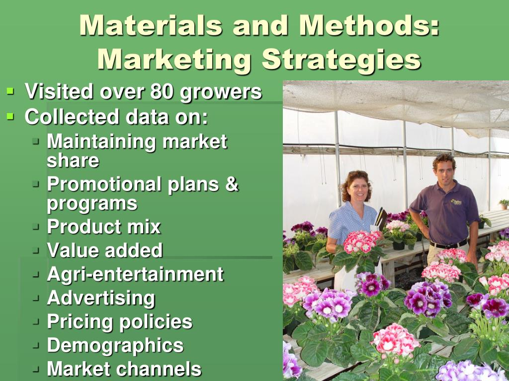 Materials and Methods: Marketing Strategies