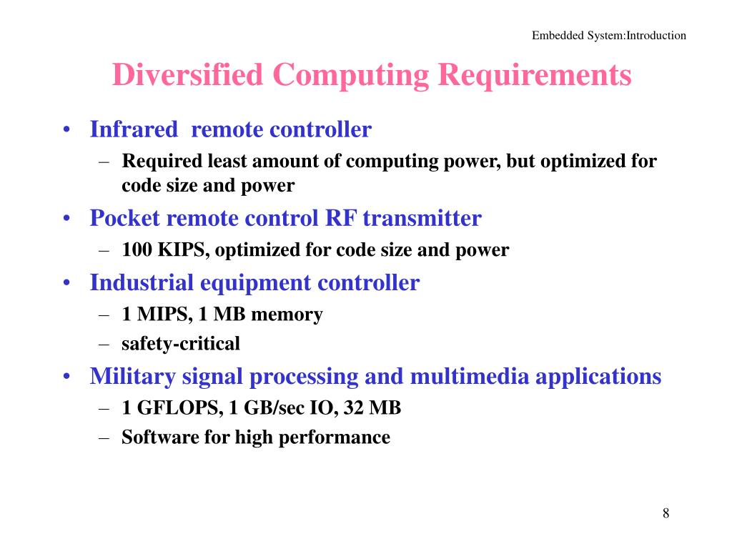 Diversified Computing Requirements