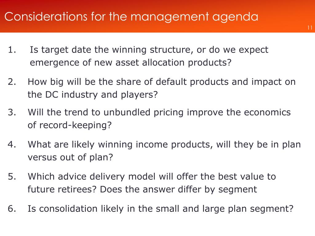 Considerations for the management agenda