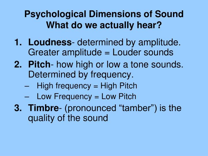 Psychological Dimensions of Sound