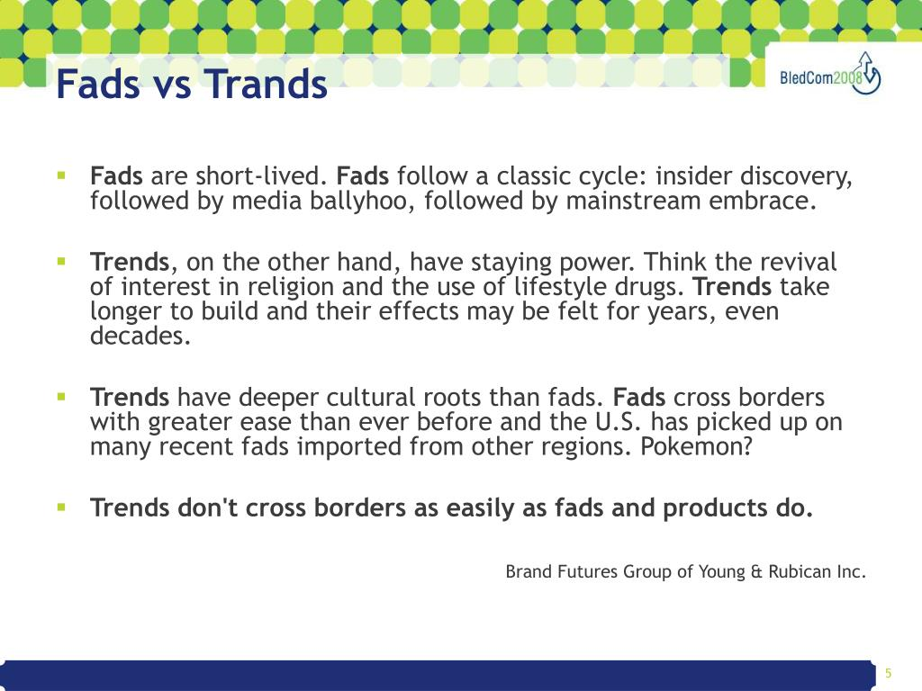 Fads vs Trands