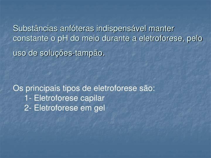 Substâncias anfóteras indispensável manter constante o pH do meio durante a eletroforese, pelo uso de soluções-tampão