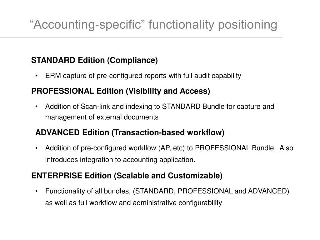 """""""Accounting-specific"""" functionality positioning"""